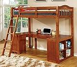Furniture of America Lavinia Bed + Work Station, 41.625' x 80' x 75', Oak