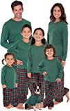 PajamaGram Matching Christmas PJs for Family, Red & Green Plaid, Mens Large