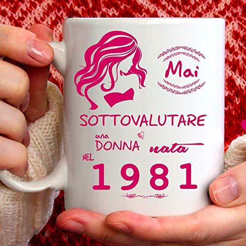 Taza 1981 cumpleaños mujer 40 años Idea regalo Nunca subes
