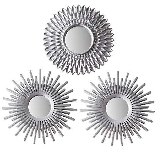 Wall Mirrors Pack of 3 BONNYCO | Silver Mirrors for Living Room,...