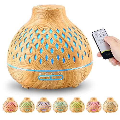 FRECOO Diffusore di Oli Essenziali, 400ML Umidificatore Ultrasuoni Diffusore di Aromi Atomizzatore Elettrico con 7 colori LED Selezionabili e Impostazioni Timer, per Yoga, Spa, Camera da Letto