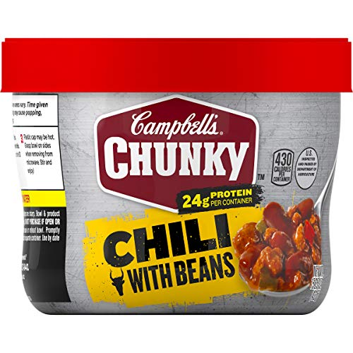 Campbell's Chunky Chili with Beans, 15.25 oz. Microwavable Bowl (Pack of 8)