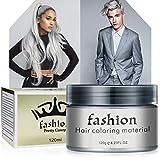 Cire Couleur Cheveux(Gris) Teinture CheveuxCire , Coloration Temporaire Cheveux Pour Hommes et Femmes Teinture Capillaire Lavable Wax 120ml
