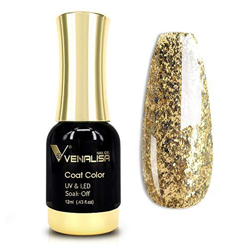 VENALISA Gel Nail Polish, 12ml Gold Glitter Color Soak Off UV LED Nail Gel Polish Nail Art Starter Manicure Salon DIY at Home, 0.43 OZ