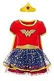 Warner Bros. Wonder Woman Girls' Costume Dress with Gold Tiara Headband and Cape  Red (6X)