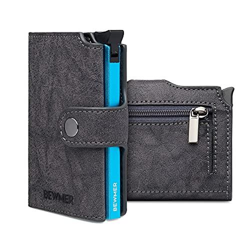 Tarjetero Slim BEWMER II - Cartera billetera para hombre o mujer, con protección Rfid blindada anticlonación, tarjetero y monedero, diseño 100% italiano, gris,