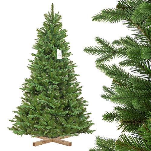 FairyTrees Pino Verde Natural Cubierto de Nieve, Árbol de Navidad Artificial, PVC, con piñas Naturales, Soporte de Madera, 180cm