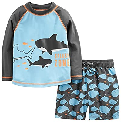 Rash guard has color block design Swim trunk has functional draw cord Mesh lining Trusted Carter's quality, everyday low prices, and hassle-free packaging