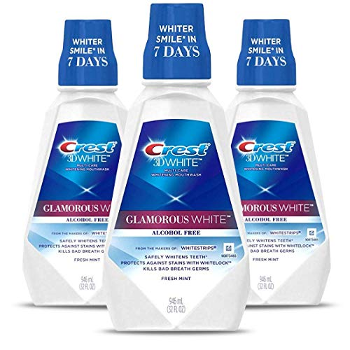Crest 3D White Luxe Glamorous White Multi-Care Whitening Fresh Mint Flavor Mouthwash, Pack of 3