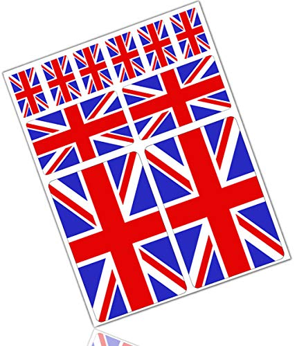 Biomar Labs® 10pcs Pegatina Reino Unido Britanica UK Inglesa Flag Bretaña Bandera Vinilo Adhesivo Coches Cascos Motos Ciclomotores Bicicletas Ordenador Portátil D 24