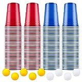 AOLUXLM Beer Pong Gobelets, 100 American Beer Pong Tasses et 10 balles, 16oz Tasses de Fête pour Noël Amusants et Jeu