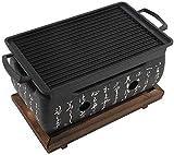 Barbecue au charbon, Barbecue Grill Table à charbon/alcool, portable japonais BBQ Grill Tabletop intérieur/extérieur avec plateau en bois massif