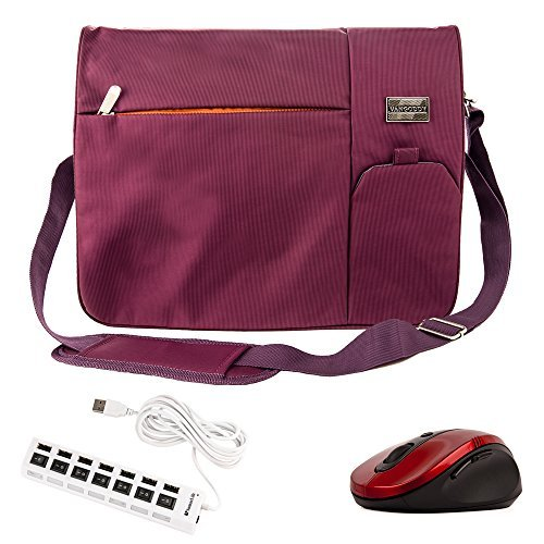 Purple Nylon Tote Bag for Asus Chromebook, E, FX, ZX, K, A, N, ROG, Spin, X, Transformer Book Flip, ZenBook 13.3 inch 15.6 inch and Black Red Wireless USB Mouse and 7 Port USB 2.0 HUB 6 foot Cable