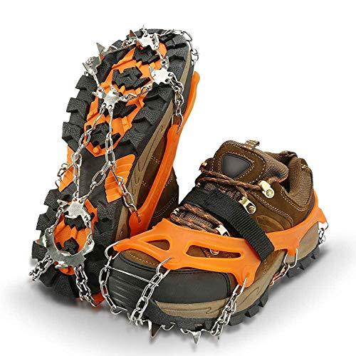 IPSXP Steigeisen, Schuhkrallen mit 19 Edelstahl Zähne Spikes Universal Anti-Rutsch Grödel für Winter High Altitude Wandern Bergsteigen auf EIS Schnee Gletscher - XL