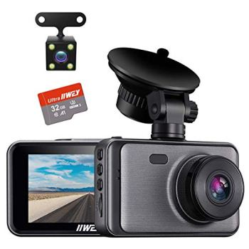 Dash Cam for Cars Front and Rear 【SD Card Included】Dual Cameras FHD 1080P with Night Vision, 3 inches Display, Driving Recorder with G-sensor, Parking Monitoring, Loop Recording