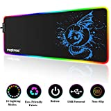 RGB Gaming Mouse Pad, Soft Extra Large LED Mouse Pad with 15 Lighting Modes,Anime Dragon Mouse Pad Mat,Smooth Surface Waterproof Gamer Mouse Pad for Computer 31.5 X 12 Inch (Blue)