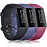 Pack 3 Silicone Bands for Fitbit Charge 4 / Fitbit Charge 3 / Charge 3 SE Replacement Wristbands for Women Men Small Large(Without Tracker) (Large: for 7.1'-8.7' Wrists, Black+Navy Blue+Wine Red)