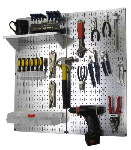 Wall Control Metal Pegboard Organizer Utility Tool Storage and Garage Pegboard Organizer Kit with Metallic Pegboard and White Accessories