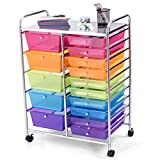 GOFLAME 15-Drawer Rolling Storage Cart, Multipurpose Movable Organizer Cart, Utility Cart for Home, Office, School (Multicolored & Clear)