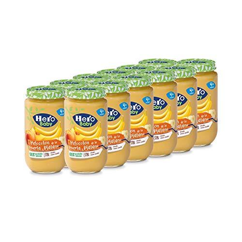 Hero Baby Tarritos de Melocotón de la Huerta y Plátano - Para Bebés a Partir de los 4 Meses - Pack de 12 x 235 g