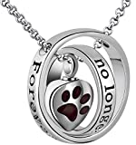 Urn Necklaces for Ashes 'No Longer by My Side Forever in My Heart' Mom Dad Cremation Urn Locket Jewelry (Dog pet urn necklace)