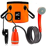 Portable Camping Shower Kit, Outdoor Waterproof Camp Shower Pump w/ 4400mAh USB Rechargeable Battery, 2.5L/min Stable Water Flow Shower Head w/ 20L Collapsible Bucket for Pet Cleaning, Hiking, Travel