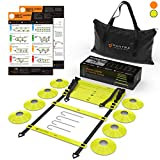 20ft Agility Ladder & Speed Cones Training Set - Exercise Workout Equipment To Boost Fitness & Increase Quick Footwork - Kit for Soccer, Football, Hockey & Basketball - With Carry Bag & Drill Charts