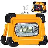 Projecteur LED Rechargeable Lampe Chantier Solaire 80W, 4 modes Portable LED Lampe de Travail...