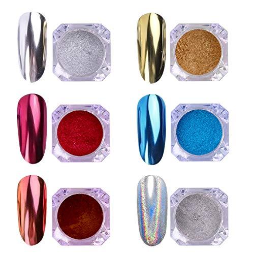 AIMEILI 6 colors Polvo Acrilico Para Uñas Colores Esmalte U