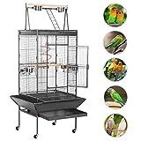 Yaheetech Grande Cage Oiseaux Perroquet Métal 4 roulettes...