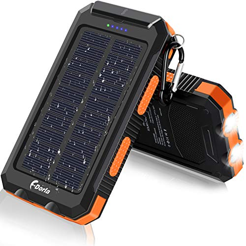 Solar Charger, F.Dorla 20000mAh Portable Outdoor Waterproof Solar Power Bank, Camping External Backup Battery Pack Dual 5V USB Ports Output, 2 Led Light Flashlight with Compass (Orange)