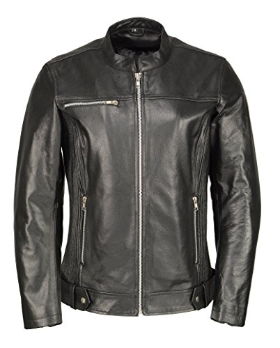 M Boss Motorcycle Apparel BOS22502 Ladies Black Armored Leather Jacket with Accordion Panels - Large