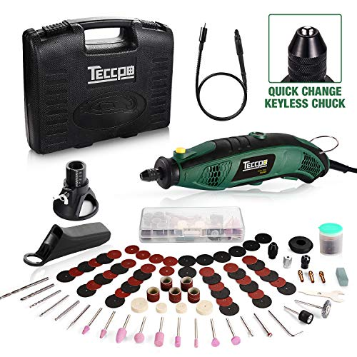 TECCPO Rotary Tool Kit, 6 Variable Speed with Flex shaft, Universal Keyless Chuck, 84 Accessories, Cutting Guide, Auxiliary Handle and Carrying Case, Multi-functional for Crafting Projects