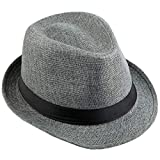 KYEYGWO Chapeau Fedora en feutre pour homme et femme, large bord style vintage - Gris - Taille Unique