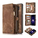 KONKY Caseme Samsung Galaxy S8 Plus Wallet Case, Magnetic Detachable Removable Phone Cover Pouch Folio Durable Leather Purse Flip Card Pockets Holder Bag Smooth Zipper - Brown