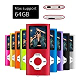 MYMAHDI - Digital, Compact and Portable MP3 / MP4 Player (Max Support 64 GB) with Photo Viewer, E-Book Reader and Voice Recorder and FM Radio Video Movie in Red