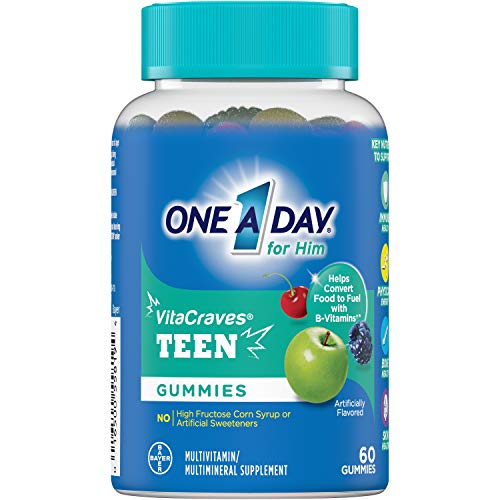 One A Day VitaCraves Teen for Him Multivitamin Gummies, Supplement with Vitamin A, Vitamin C, Vitamin D, Vitamin E and Zinc for Immune Health Support* & more, 60 Count 2