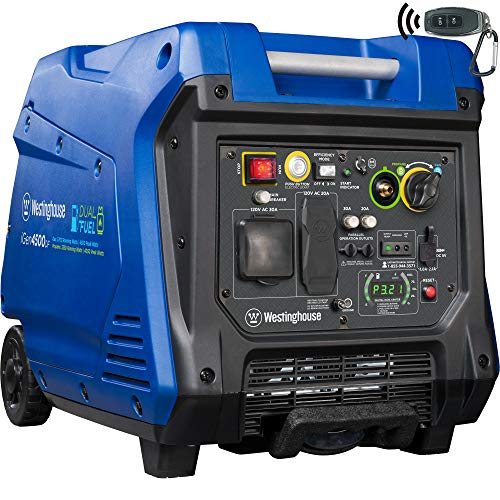 Westinghouse iGen4500DF Dual Fuel Portable Inverter Generator 3700 Rated & 4500 Peak Watts, Gas & Propane Powered, Electric Start, RV Ready, CARB Compliant