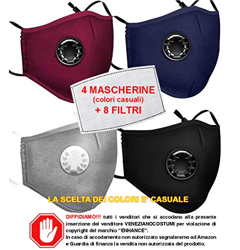 VENEZIANO Mascherine con Filtro Removibile da Italia 24-48 Ore, Mascherina Non sterile 5 Strati ai Carboni Attivi Marchio Enhance (4 Mascherine + 8 Filtri)