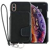 <iPhone XS 新型>RAKUNI (ラクニ) 本革 背面手帳型iPhoneケース/前面カバーレス/カード複数枚/ストラップ/スタンド機能/財布いらず(X併用可能)