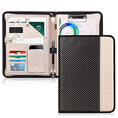 1.[Practical Function] Toplive portfolio organizer equipped with a side document pocket, a tablet sleeve, a cellphone pouch, a receipts pocket, 3 card holders, a pencil holder and a earphone organizer as well as a Clipboard. Toplive clipboard portfol...