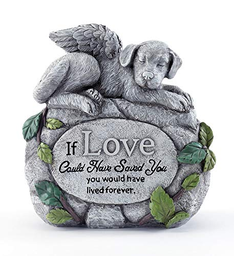 Napco Angel Dog On Sentiment Rock Pewter Grey 7 inch Resin Stone Collectible Figurine