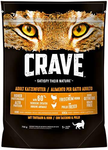 CRAVE Premium Trockenfutter mit Truthahn & Huhn für Katzen – Getreidefreies...