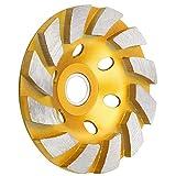 SUNJOYCO 4' Concrete Grinding Wheel, 4 inch 12-Segment Heavy Duty Turbo Row Diamond Cup Grinding Wheel Angle Grinder Disc for Granite Stone Marble Masonry Concrete