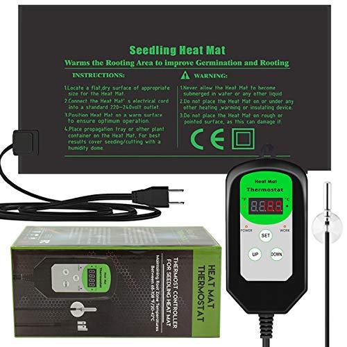 RIOGOO 9.5'x20.5' Seedling Heat Mat and Thermostat Controller 68-108°F Digital Thermostat Controller IP68 Waterproof (Heated mat+Thermostat Controller)