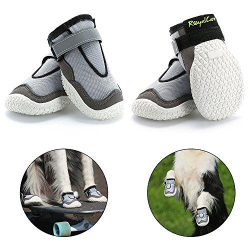 RoyalCare Pfotenschutz Hundestiefel, Set 4 atmungsaktive Loch und rutschfeste Hund Schuhe für große Hunde in heißen Sommer 7#