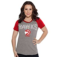 Officially licensed NBA hardwood classic Apparel 60% cotton/40% poly slub jersey Scoop neck, Raglan sleeves with curved hem styling Heather grey body with primary team color sleeves Team name in iridescent sequins and team logo screen-printed at fron...