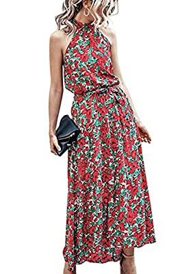*Unique Design:Halter Neck,Sleeveless,Polka Dot Print,Backless,Adjustable Strap,Ruffle Hem,Lightweight,Loose Fit,Full Length,High Elastic Waist,Belted,Tie Back,A Line Swing Dress,Floral Maxi Beach Dresses,Long Summer Dress,Pull on Closure. *Everyone ...
