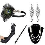 JaosWish Accessoires Gatsby 1920 Année Folle Doré Luxueux Charleston Bandeau à Plume, Gant, Porte-Cigarette, Boucles d'oreille et Collier pour soirée déguisée