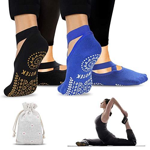 Calze da Yoga Antiscivolo Pilates Calzini Donna (2 Pairs)- Yoga Calze Traspirante Yoga Socks Calzino Antiscivolo - per Pilates, Yoga, Barre, Balletto, Danza, Fitness, Ballo a Piedi Nudi - EU 36-42